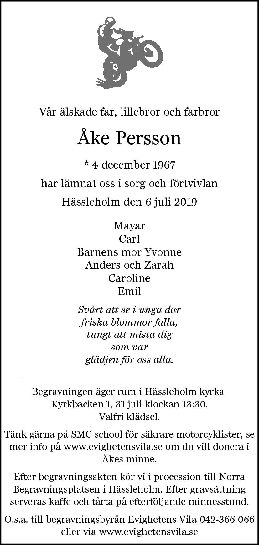 Åke Persson Hässleholm 6 juli 2019 - Dödsannons Evighetens Vila Begravningsbyrå