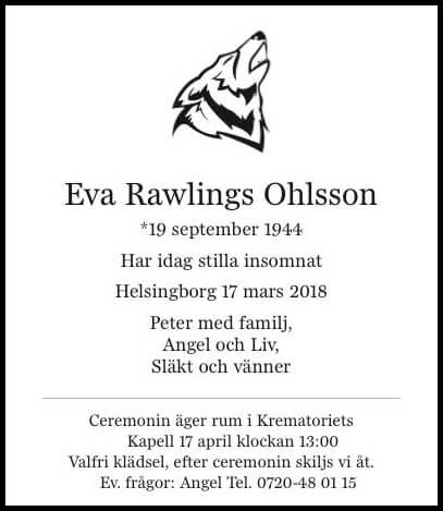 Eva Rawlings Ohlsson Helsingborg 17 mars 2018 - Dödsannons Evighetens Vila Begravningsbyrå