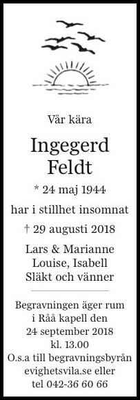 Ingegerd Feldt Helsingborg 29 augusti 2018 - Dödsannons Evighetens Vila Begravningsbyrå