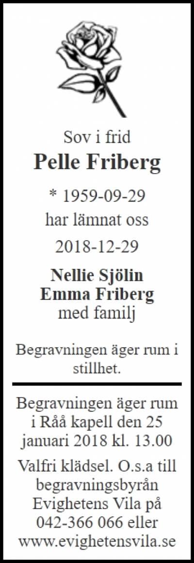 Per Fribeg Helsingborg 29 december 2018 - Dödsannons Evighetens Vila Begravningsbyrå