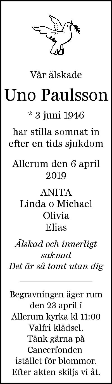 Uno Paulsson Allerum 6 april 2019 - Dödsannons Evighetens Vila Begravningsbyrå