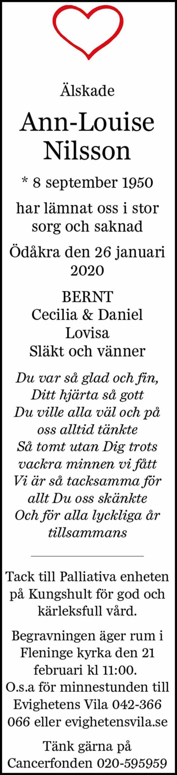 Dödsannons Ann-Louise Nilsson Evighetens Vila Begravningsbyrå