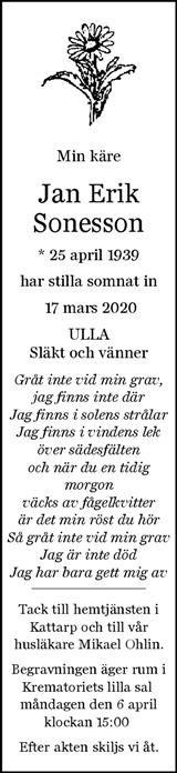 Dödsannons Jan-Erik Sonesson Evighetens Vila Begravningsbyrå