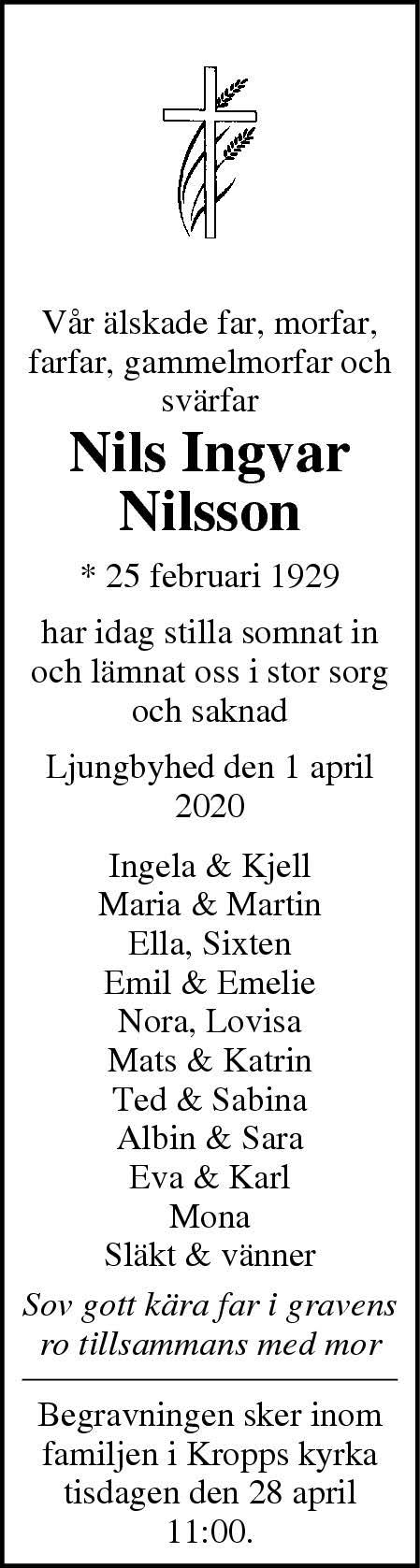 Dödsannons Nils-Ingvar Nilsson Evighetens Vila Begravningsbyrå