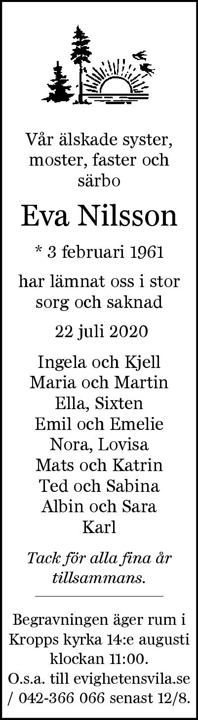 Dödsannons Eva Nilsson Evighetens Vila Begravningsbyrå