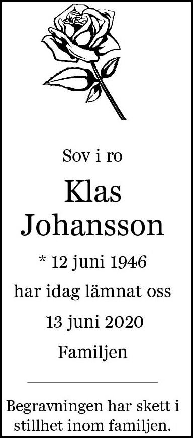 Dödsannons Klas Johansson Evighetens Vila Begravningsbyrå