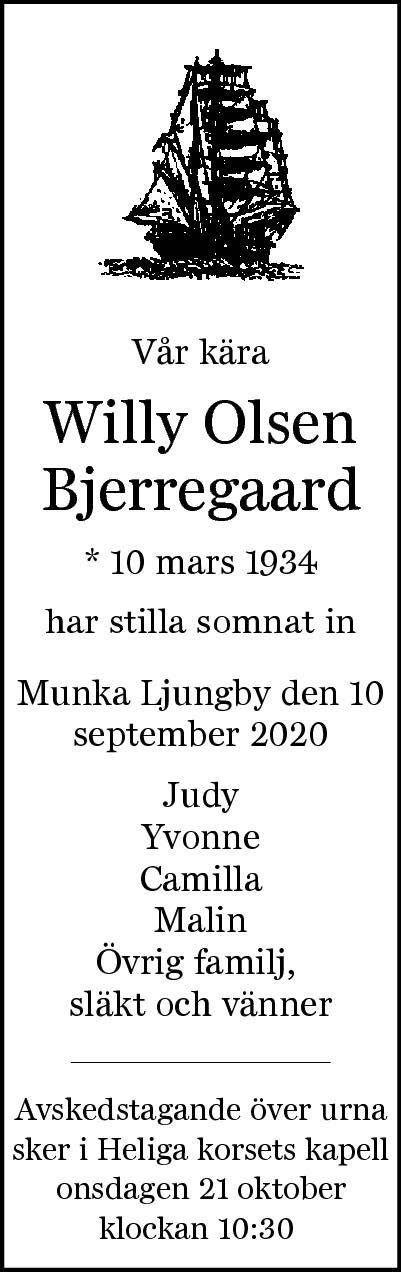 Dödsannons Willy Olsen Bjerregaard Evighetens Vila Begravningsbyrå