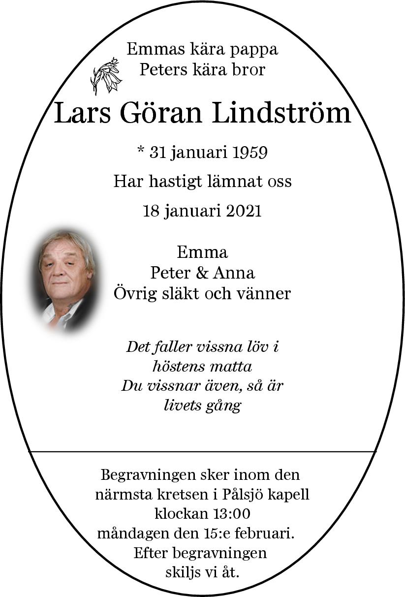 Dödsannons Lars Göran Lindström Evighetens Vila Begravningsbyrå