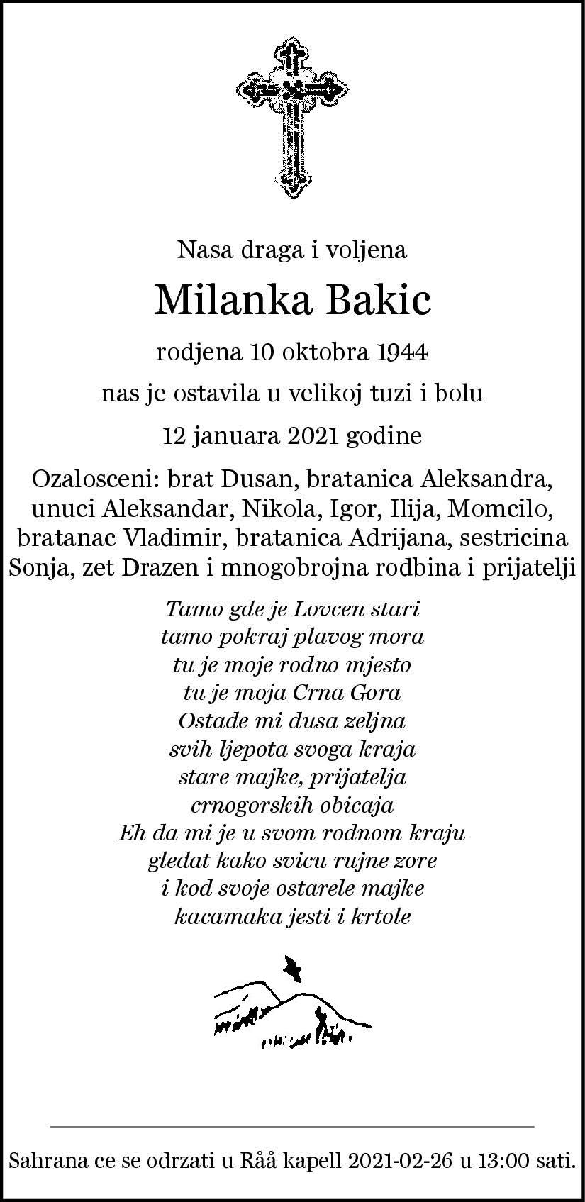 Dödsannons Milanka Bakic Evighetens Vila Begravningsbyrå