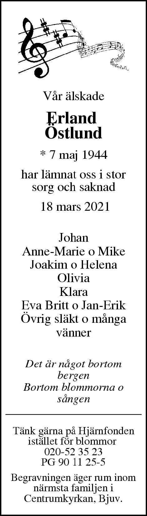 Dödsannons Erland Östlund Evighetens Vila Begravningsbyrå