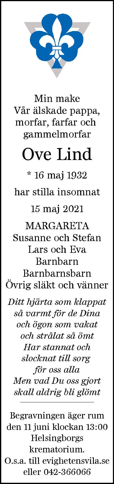 Dödsannons Ove Lind Evighetens Vila Begravningsbyrå